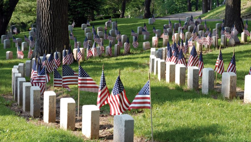 Cemetery with flags
