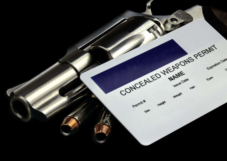Concealed Weapons permit card and on top of a revolver.