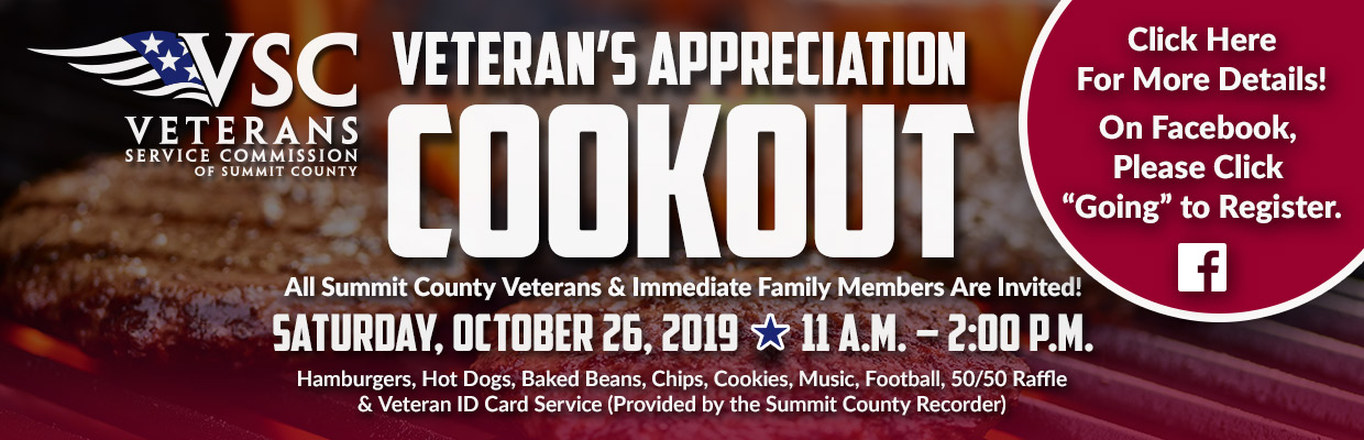 Veteran's Appreciation Cookout - Click for more details or to register.