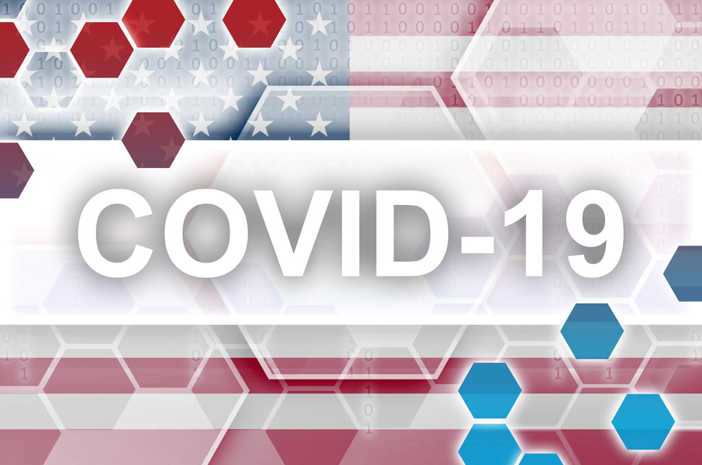 COVID-19 overtop American flag