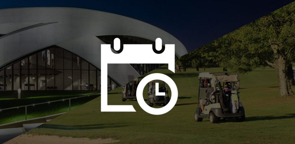 Calendar overtop a grayed out image of the Vet History museum and golfers in golf carts.