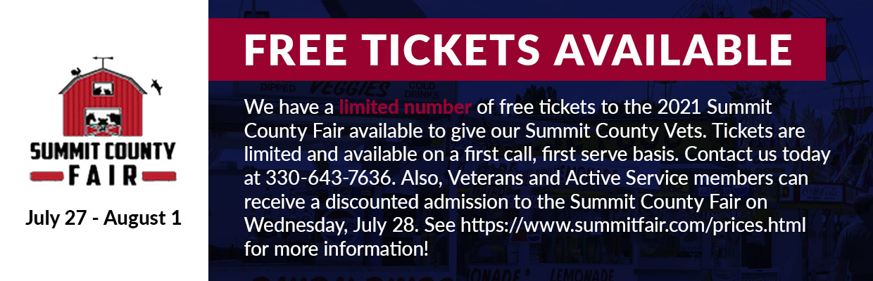 Free tickets available for the 2021 Summit County Fair. Limited number available. Call us today at 330-643-7636!